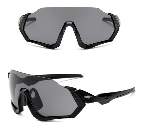 Óculos Bike Ciclismo Esportivo Preto Espelhado Proteção Uv