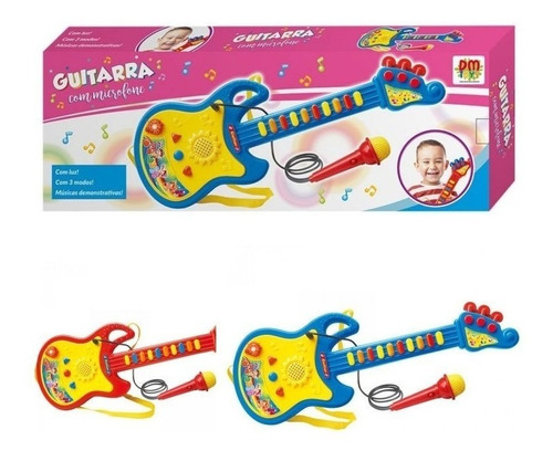 Guitarra C/ Microfone Som Luz Musical Educativo Dm Toys 5379