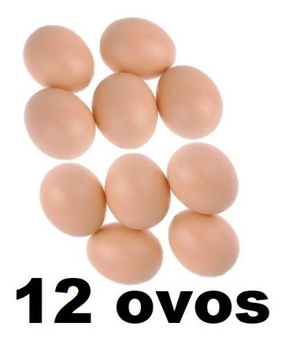 Kit 12 Ovos Falsos De Mentira De Plástico Para Indez Galinha