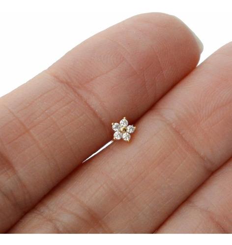 Piercing Orelha Cartilagem Helix Tragus Fl Ouro Mini Flor