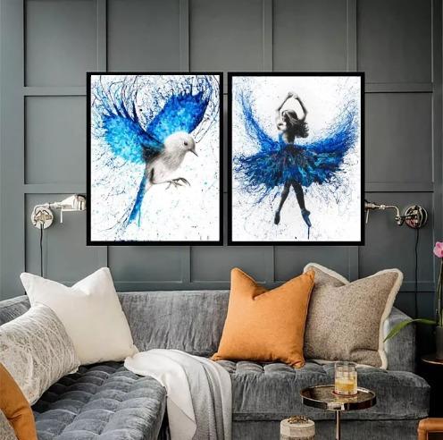 Kit Quadros Ballet Pássaro Abstrato Decorativo 60x40cm Original