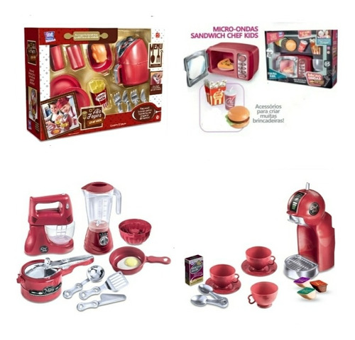 Kit Brinquedos Air Fryer Micro Cafeteira E Litlle Chef Kids