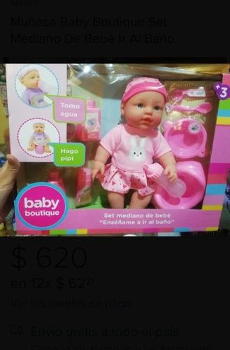 Muñeca Baby Boutique Set Mediano De Bebé Ir Al Baño