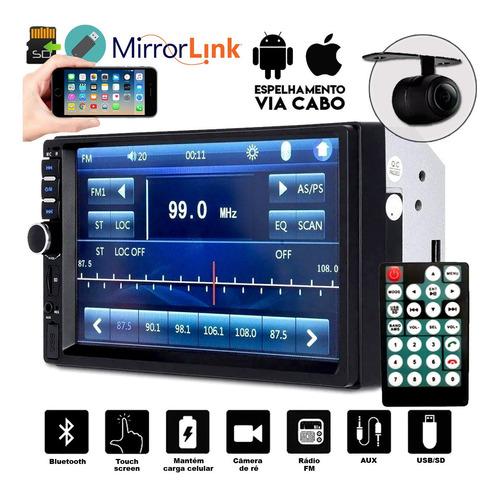 Central Multimidia Mp5 Universal Câmera Bt Espelhamento Gps