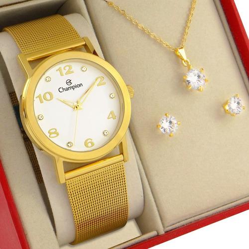 Relógio Champion Feminino Dourado Prova Dagua Garantia 1 Ano
