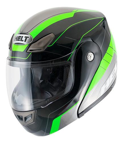 Capacete Moto Articulado Robocop Helt Hippo Gray Preto Verde