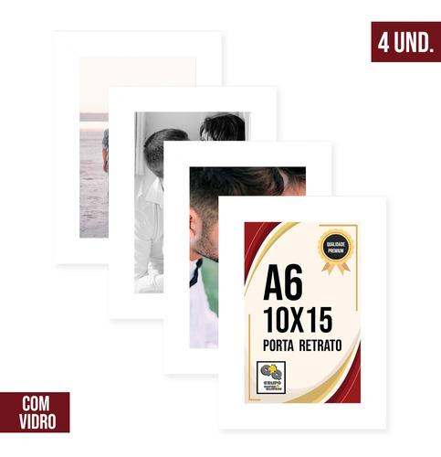 Kit 4 Porta Retrato 10x15 Moldura Laqueada Fosco C/ Vidro