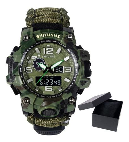 Relógio Tático Militar Sobrevivência Selva Trilhas Original