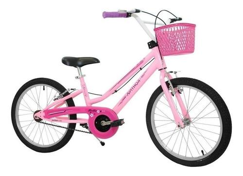 Bicicleta  Feminina Infantil Nathor Bella Aro 20 Aro 20 Freios V-brakes Cor Rosa