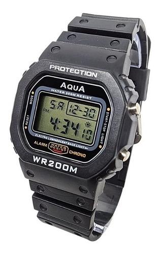 Relógio Retro Digital De Pulso Marca Aqua Wr200m