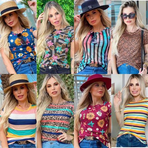 Blusa Blusinha Estampada Para Revenda T Shirt Da Moda Kit 10