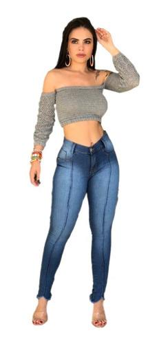 Kit 10 Calças Jeans Feminina Cintura Alta Com Lycra - Barata