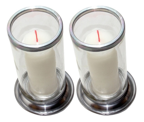 2 Copo Para Vela Suporte De 7 Dias Vidro Alumínio Antichamas