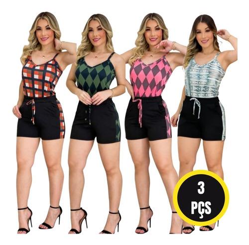 Kit 3 Conjuntos Feminino Short E Blusa Atacado Revenda Cs1