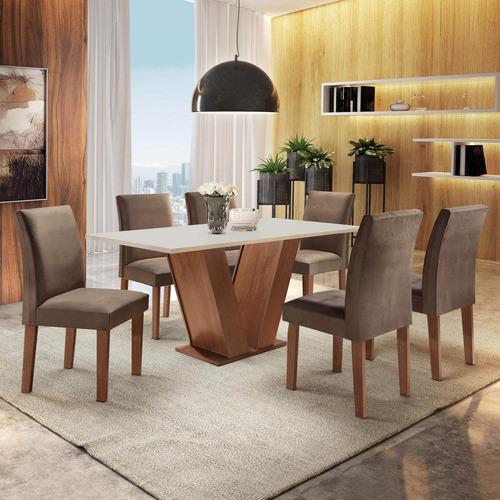 Mesa De Jantar Tampo Mdf 6 Cadeiras Espanha Espresso Ei