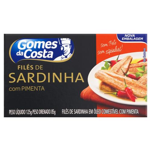 Filé De Sardinha Com Óleo Com Pimenta Gomes Da Costa Caixa 85g