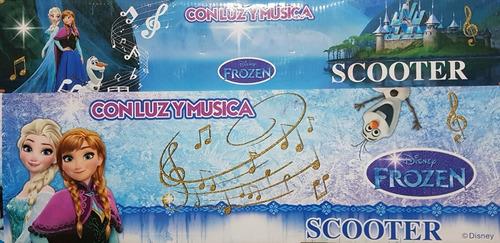 Patinete Frozen 3 Rodas -com Led, Música E Buzina-  Dobrável