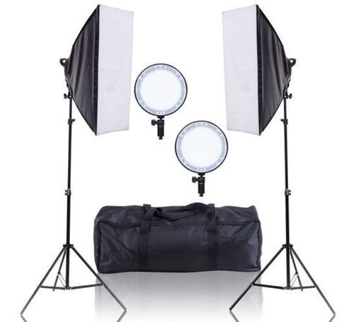 Kit Estúdio Com Luz Continua De Led 600w Softbox 50x70cm