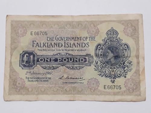 Cedula One Pound Falkland Island 1967 Raríssima Oportunidade