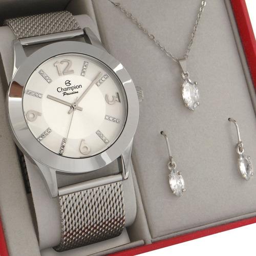 Relógio Champion Feminino Prata Prova D'agua Original