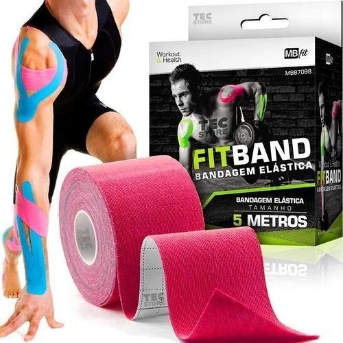 Bandagem Fita Elástica Adesiva Premium 5 Metros Tape Kinesio
