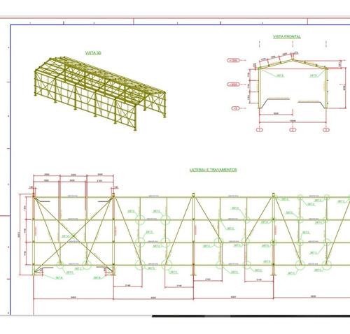 Projeto De Um Galpão De Estrutura Metálica  10,00 X 30,00