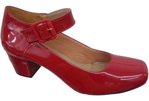 Sapato Feminino Boneca Confortável Salto Baixo Largo