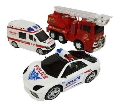 Kit Carro Bombeiro Polícia  Ambulância C/som Luz E Movimento