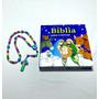Kit Bíblia Terço Infantil Crianças Ilustrada Capa Dura Azul