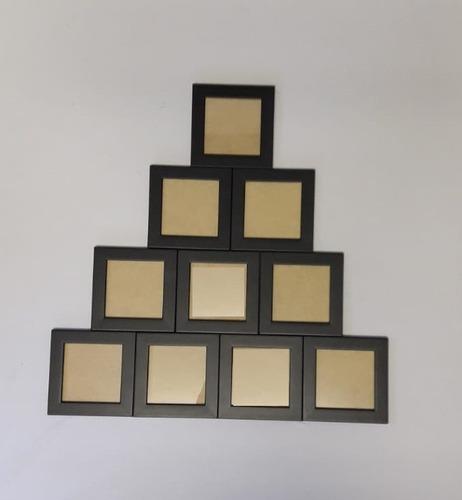 Full Kit 10 Porta Retrato 10x10 Com Vidro Suporte De Mesa