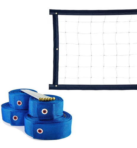 Kit Rede De Vôlei 5 Metros + Marcação Azul
