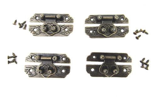 4 Fecho Trava De Metal Pequeno Para Caixa De Jóia De Madeira