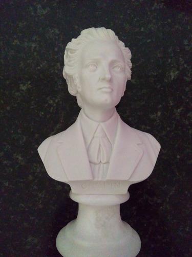 Escultura Busto Pianista Chopin Po Marmore 15cm Made Italy
