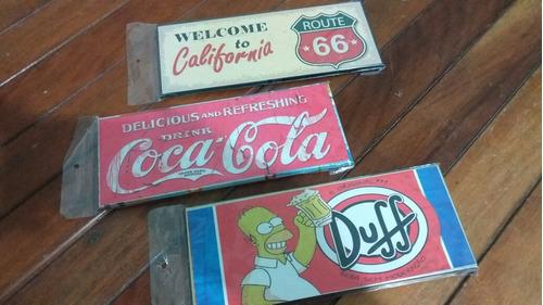 3 Placas Decorativas Vintage Metal