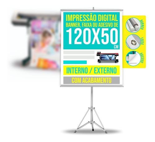 Banner Personalizado Faixa Ou Adesivo 1,2 X 0,5 M / 120 X 50