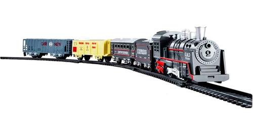 Trem Trenzinho Ferrorama Locomotiva Com Luz E Som 4 Vagoes