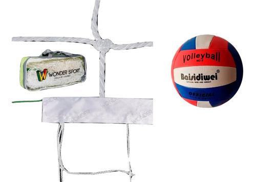 Combo Red Malla De Voleibol Y Balón