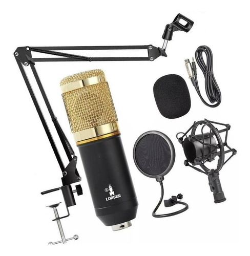 Microfone Lorben Bm800 Condensador  Cardióide Preto