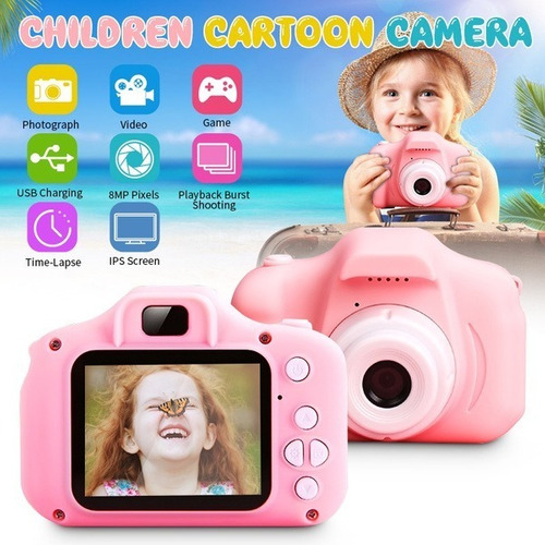 Pink Kids Camera Digital Câmeras Para Meninas Brinquedos 108