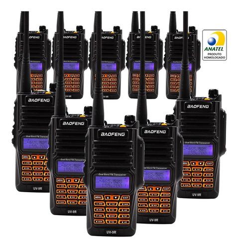 Kit 10 Rádio Comunicador Baofeng Uv9r 10w Resistente À Água