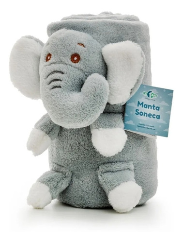 Manta Microfibra Elefantinho Elefante Azul Antialérgico