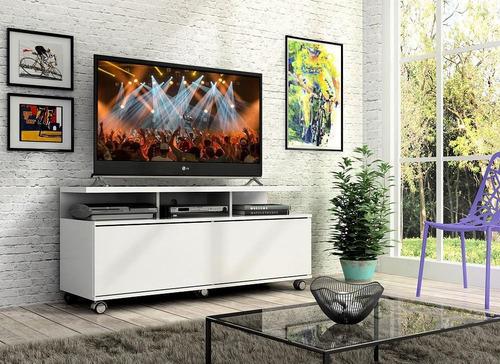 Rack Buzios 1,20m Branco Com Rodinhas Tv 55 Polegadas