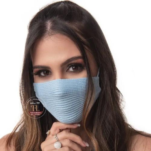 Máscara Tricô Tricot  Canelado Antiviral- Envio Hoje