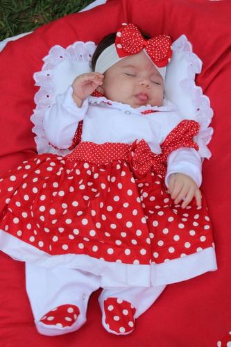 Saída De Maternidade Menina Vermelha - Charmosa 5 Peças.