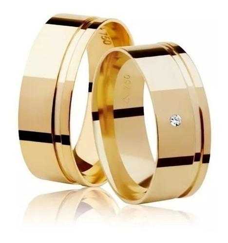 Par De Alianças Reta Quadrada 6mm 7g Larga Diamante Ouro18k