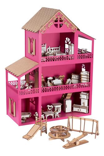 Casinha De Boneca Pink Mdf +36 Móveis +parquinho + Nome