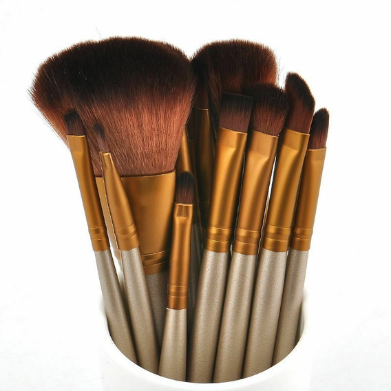 12 Brochas Estuche Caja Metalica Pinceles Maquillaje