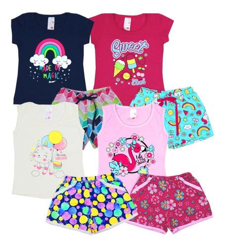 Kit 4 Conjunto Infantil Feminino Roupa De Verão Menina