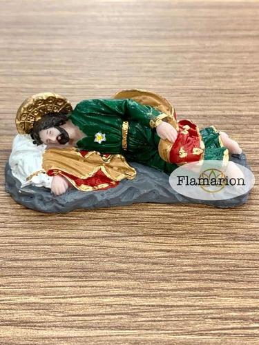 Imagem São José Dormindo Descansando Resina 8x3cm Escultura