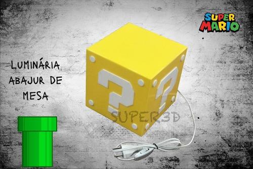 Luminária Mario Abajur, Cubo, Bloco Super Mario Bros.